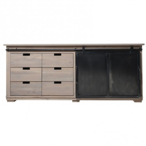 Dinard Sideboard with sliding metal door in oak