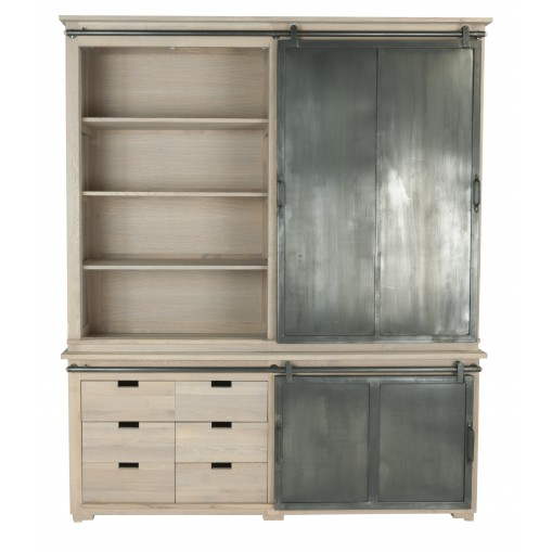 Dinard Buffet with open shelves, drawers and sliding metal door