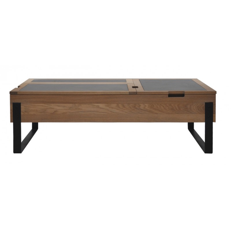 Table basse plateau escamotable signature for Table basse double plateau